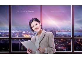 创意简洁商务女性职场背景主题海报设计