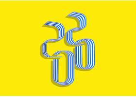扭动2020个性字体设计新年元素标签设计