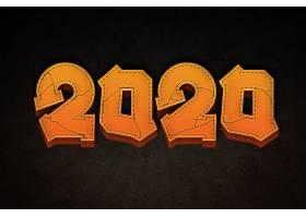立体2020个性字体设计新年元素标签设计