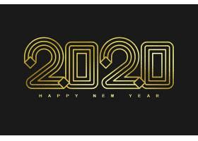 金色2020个性字体设计新年元素标签设计