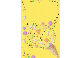 黄色糖果系列多边形清新海报通用模板