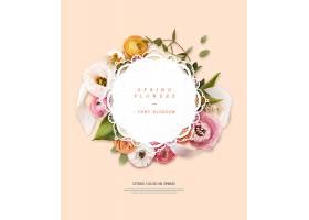 清新春天植物花卉元素标签设计
