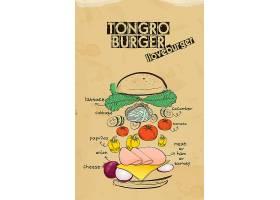 手绘复古汉堡食材元素分解海报设计