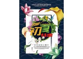 清新夏季宣传促销活动通用海报模板图片