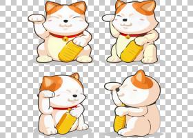 猫Maneki-neko运气,四个幸运猫PNG剪贴画食物,动物,猫像哺乳动物,图片