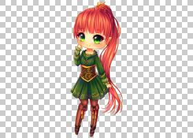 Chibi动漫绘画漫画Kavaii,绿色红色头发长马尾辫女孩PNG剪贴画画,图片