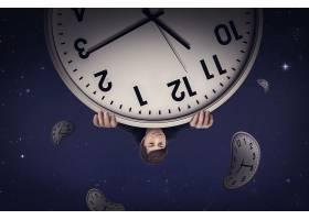 创意抽象时间概念钟表主题海报背景设计