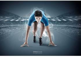 时尚简洁现代运动人物形象海报背景设计