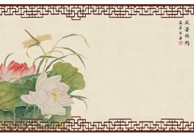 中国风复古荷花元素工笔画海报