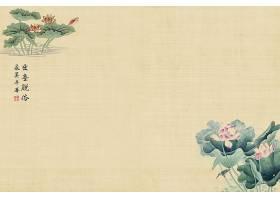 中国风复古荷花工笔画海报