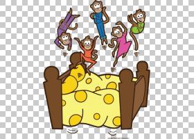 五只小猴子跳在床上,床垫PNG剪贴画家具,食品,文本,手,睡眠,虚构图片
