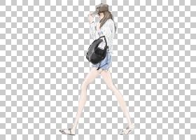 时尚插画绘图插图,小清新,手绘,凳子,头发,女孩,走路女人穿着黑色图片
