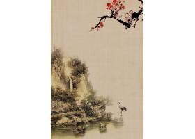 古风山水意境中国风工笔画背景海报