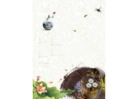 古风小清新花卉中国风工笔画背景海报