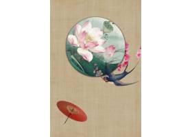 古风小清新中国风工笔画背景海报