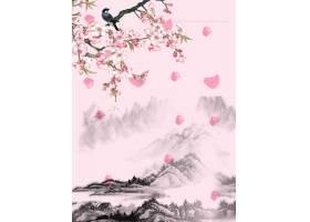 古风花鸟意境中国风工笔画背景海报