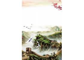 古风万里长城中国风工笔画背景海报
