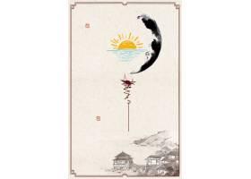 中国风水墨意境复古古风工笔画背景