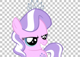 可爱的美女日落微光小马苹果绽放钻石卡通头饰PNG剪贴画马,紫色,图片