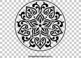 装饰装饰艺术,锦缎。 PNG剪贴画叶,对称性,单色,花卉,线艺术,单色