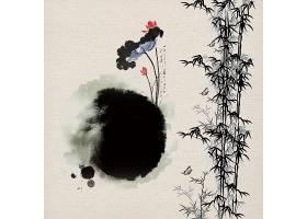 简约古风水墨竹子荷花中国风背景海报