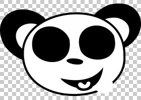 大熊猫熊笑脸,笑脸黑色和白色PNG剪贴画脸,单色,头,笑脸,虚构人物图片