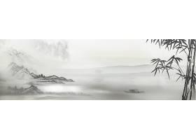 水墨山水画面中国风banner背景图