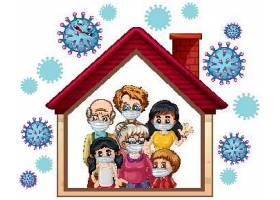 在家预防与抗击疫情概念宣传插画设计