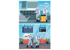 工人和护士消毒机场插画矢量图