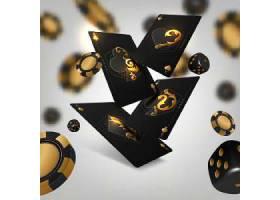 黑金大气扑克牌锦标赛扑克筹码主题装饰背景