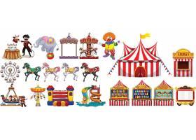 游乐场马戏团主题装饰插画设计