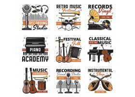 复古音乐工具乐器主题矢量标签LOGO设计
