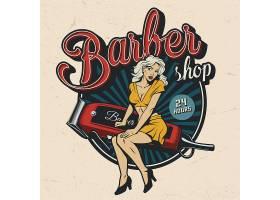 复古理发店服务主题矢量标签LOGO设计