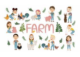 人与动物相处矢量插画设计