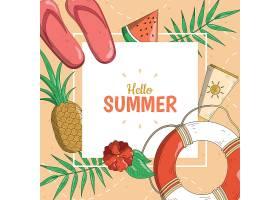 创意你好夏天夏季主题矢量背景设计