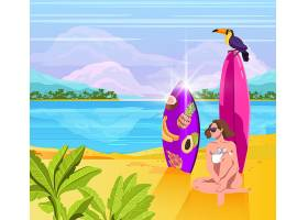 海边沙滩休憩主题插画设计