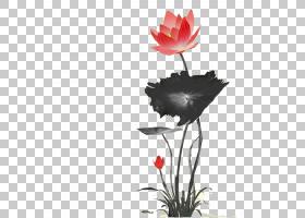 荷花水墨中国风PNG剪贴画油墨,中国风,植物茎,花瓶,山水,金莲花,