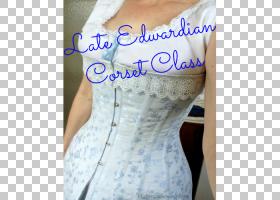 爱德华时代的紧身胸衣内衣连衣裙图案,紧身胸衣PNG剪贴画蓝色,别