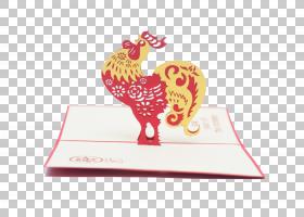 问候和记事卡圣诞节中国新年情人节明信片,公鸡PNG剪贴画的一年假