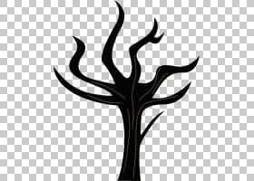 绘画艺术小马,死树PNG剪贴画杂项,鹿茸,叶,分支,其他,单色,植物茎