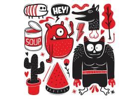 个性搞怪的手绘卡通怪物形象装饰插画