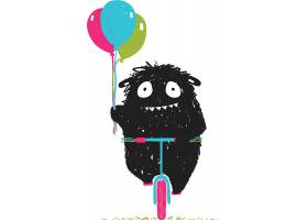 手绘卡通黑色可爱小怪兽形象装饰插画