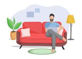 坐在沙发上的卡通男人