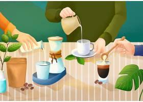 咖啡牛奶插画
