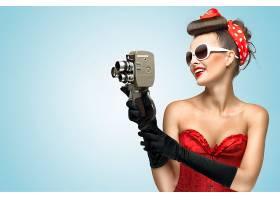 女人,模特,,大头针,重新流行,妇女,女孩,太阳镜,照相机,口红,微笑