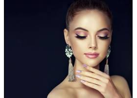 女人,模特,,妇女,化妆品,耳环,壁纸,图片