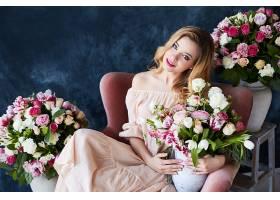 女人,模特,,妇女,女孩,微笑,白皙的,蓝色,眼睛,花瓶,口红,粉红色,
