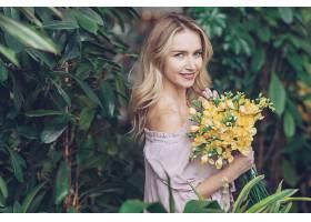 女人,模特,,妇女,女孩,微笑,白皙的,酒香,黄色,花,壁纸,
