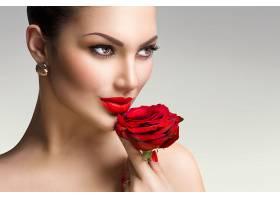 女人,模特,,妇女,女孩,口红,红色,玫瑰,脸,特写镜头,壁纸,