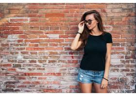 女人,模特,,妇女,女孩,情绪,太阳镜,短裤,黑发女人,砖,壁纸,